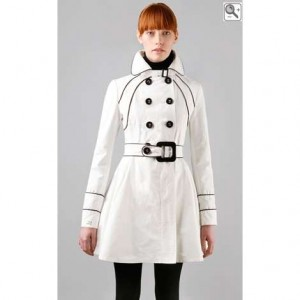 black white raincoat